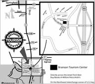 Map to Branson Tourism Center